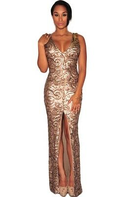 AU63.19 • Buy Womens Ladies Occasion Formal Prom Evening Full Length Rose Sequin Fitted Dress