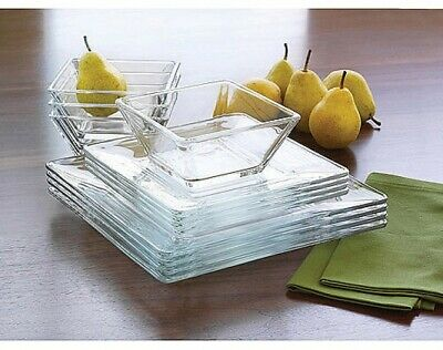 $38.20 • Buy 12 Piece Square Dinnerware Glass Clear Dishes Salad Plate Bowl Kitchen Set For 4