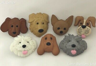 £3.50 • Buy Dress It Up ''fuzzy Faces  Cute Dog Buttons 4825 Poodle Hound Chihuahua Puppy