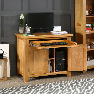 Cheshire Oak Hideaway Home Office Computer Desk - Cupboard Unit Stand - AD54 • 399£