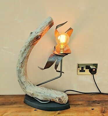 Driftwood Table Lamp - Edison Bulb, Handmade With Metal And Wood, Functional Art • 110£