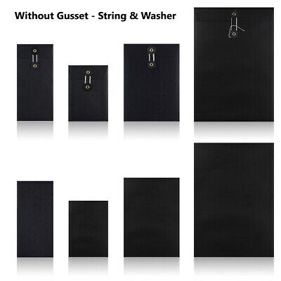 Black - W/O Gusset - String & Washer All Size Bottom & Tie Envelopes Mailer • 29.87£