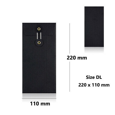 Strong Black String & Washer Bottom-Tie Envelopes DL Size F&F Delivery • 5.20£