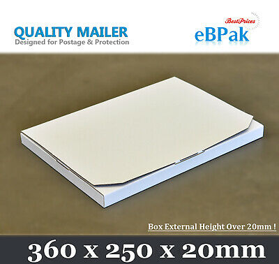 AU64 • Buy 100x Mailing Box B4+ 360x250x20mm B4 Size Rigid Envelope Mailer