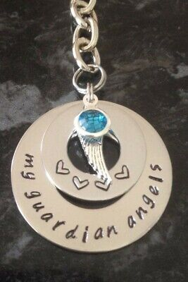 Hand Stamped Personalised Name Stack Necklace Angel Wing Necklace + Birthstone • 13.84£