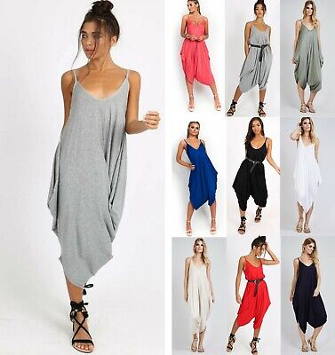 Women's Ladies Cami Strappy Ali Baba Harem Romper Baggy Oversize Jumpsuit New • 9.99£