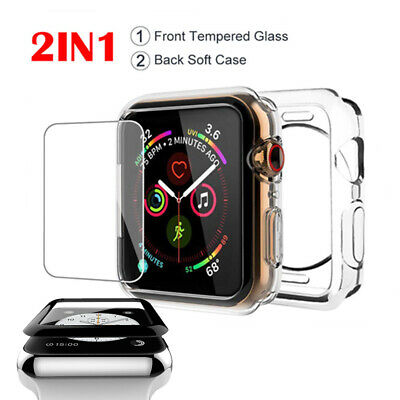 $ CDN6.37 • Buy For AppleWatch Series 4/3/2/1 40/44mm Soft Case Tempered Glass Screen Protector
