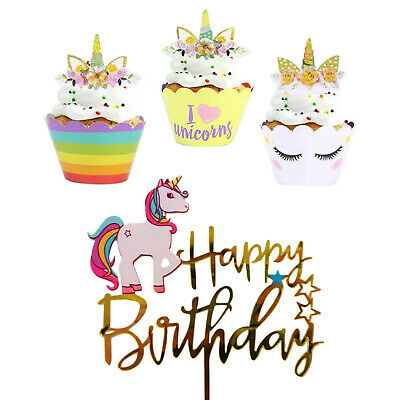 AU9.80 • Buy Unicorn Cupcake Toppers Wrappers | Unicorn Cake Topper | Party Supplies Birthday