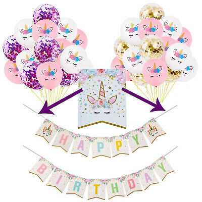 AU13.99 • Buy Unicorn Party Decorations, Unicorn Birthday Banner Balloons,Girls Party Supplies