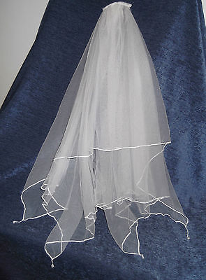 HANDKERCHIEF BRIDAL VEIL, Crystal Drops, 66 Cm Length, WHITE, IVORY, NEW, Aust  • 30.62£