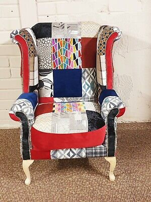 £695 • Buy Orphophedic Chesterfield Queen Anne Patchwork Armchair