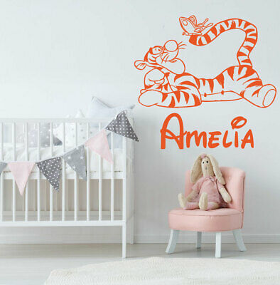 Personalise Name Tiger Wall Stickers Winnie The Pooh Nursery Baby Room Decor • 15.58£