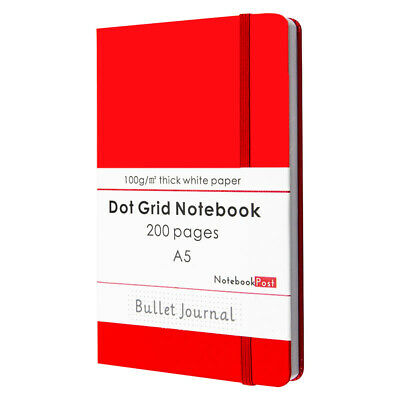 AU25.67 • Buy Red Leather Cover Bullet Journal Notebook For Women, A5 Dot Grid Paper 200 Pages