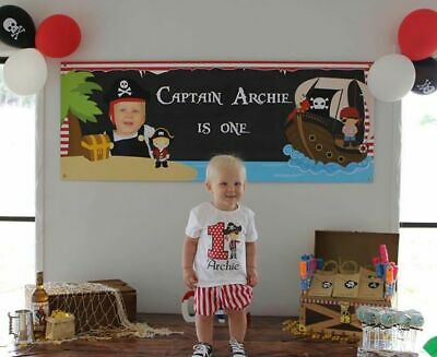 AU20 • Buy Personalised Pirate Party Banner / Backdrop 1st 2nd 3rd Birthday Poster