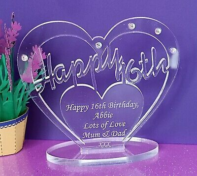 Personalised Freestanding Heart For 16th 18th 30th 40th 50 Birthday Gift Message • 5.95£