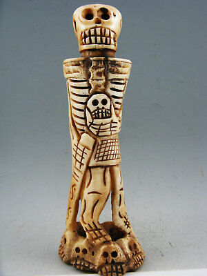 Old Antique Collectible Hand-Carved Human Skeleton Netsuke Statue  • 48.80£
