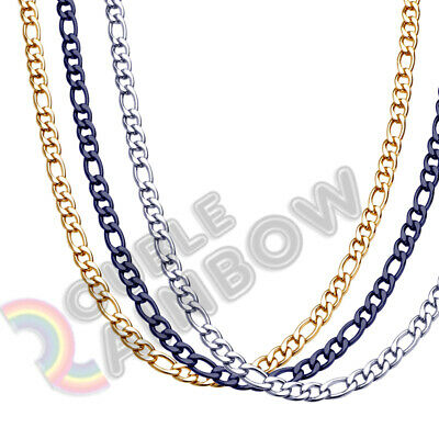 $5.98 • Buy Men Women Figaro Necklace Chain Stainless Steel Gold/Silver/Black 3mm-12mm Link