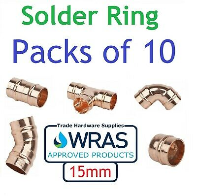 15mm Solder Ring Yorkshire Fittings Copper Straight Coupling Stop End Elbow Tee  • 5.49£