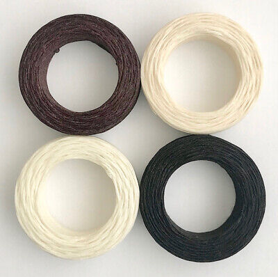 £3.45 • Buy Waxed Linen Thread 22m Black Brown Natural White - Jewellery Upholstery Leather