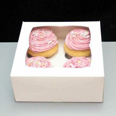 AU14.99 • Buy Cupcake Boxes 10PCS 4 Hole Window Display Cases For Party Wedding Cake Boxes