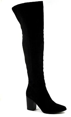 London Rebel Womens UK 6 Black Faux Suede Above Knee Thigh High Heel Tall Boots • 23£