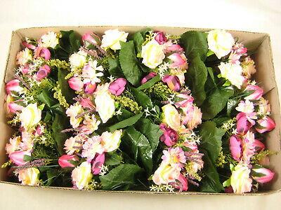12x Wholesale Clearance Artificial Flowers Bush With Rose Gerbera Onion Grass • 24£