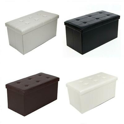 2 Seater Leather Storage Ottoman Foldable Seat Stool Bench Chest Toy Box 4 Color • 16.99£