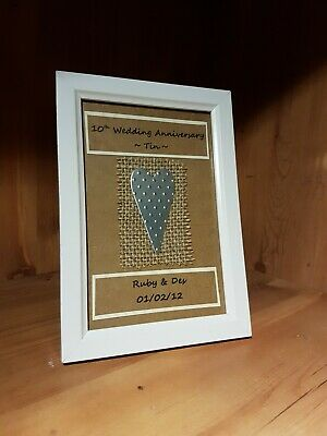 Personalised 10th Wedding Anniversary Frame Gift. Tin Anniversary. Gift Wrapped • 10£