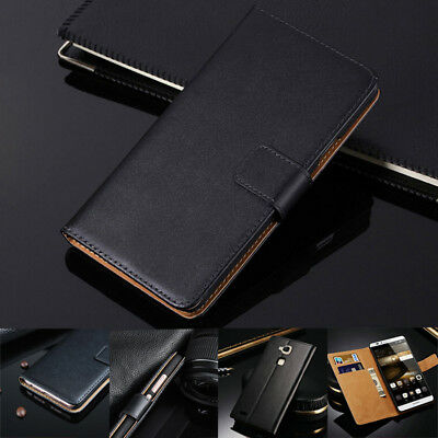 AU8.88 • Buy Genuine Leather Luxury Wallet Flip Black Case Cover For Huawei Mobile Phone