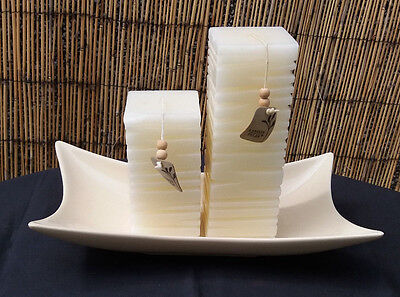 Large Handcrafted Cream Sculpted Candles 'LANDON TYLER' & Ceramic Display Plate • 21.25£