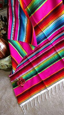 Mexican Serape Blanket Pink,Fuchsia And Rainbow Striped EXTRA LARGE 84  X 60  • 23.15£