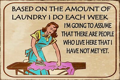 Laundry Day Funny Humorous Vintage Retro Style Metal Sign, Mother, Mum, Ironing • 2.49£