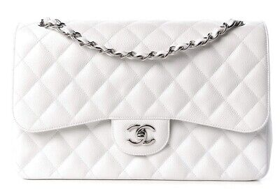 b75ff8a46e1e5a Chanel White Caviar Leather Jumbo Classic Double Flap Bag Shw • 4,150.00$