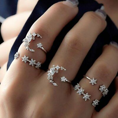 AU2.05 • Buy 5PCS/Set Star Moon Crystal Knuckle Rings Open Adjust Ring Women Finger Jewelry