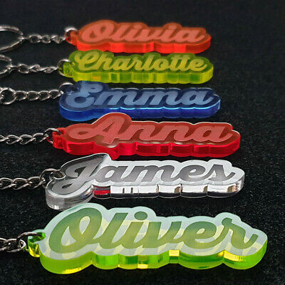 £2.98 • Buy Personalised FROZEN KEYRING KEYCHAIN GIFT ANY NAME SCHOOL BAG  WORD TAG WOW