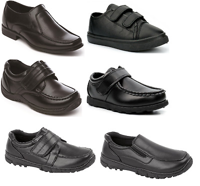 Boys Black School Shoes Memory Foam PU Leather Easy On UK Sizes Inf 6 - Adult 9 • 12.99£