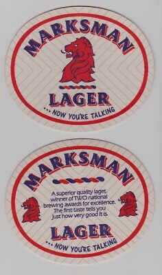 £2.17 • Buy  Mansfield Brewery Markmans Lager England Set Of Two Beer Coasters Bar Pub Mats