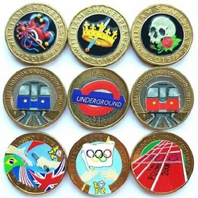 £2 TWO POUNDS COLOUR DECAL COIN STICKERS Olympics Underground Shakespeare Guinea • 30£