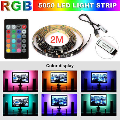 $7.85 • Buy USB Powered RGB 5050 LED Strip Lighting For TV Computer Background Light 2M 6FT