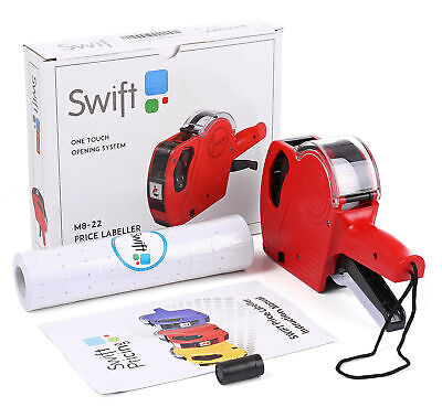 Swift Price Gun Pricing Labeller Kit With Labels & Spare Ink Office Supply Black • 11.95£