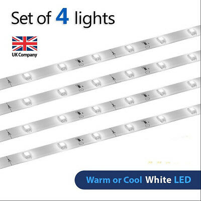 4 X Kitchen Cabinet LED Strip Under Counter Energy Saving PlugIn Lamp Home Light • 10.99£