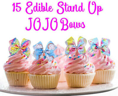 AU12.95 • Buy 15 STAND UP Edible JOJO Siwa BOWS Cake Cupcake Decoration Toppers Images Party