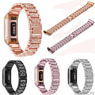 AU16.99 • Buy Fitbit Charge 4 3 2 Replacement Stainless Strap Rhinestone Bracelet Watch Band