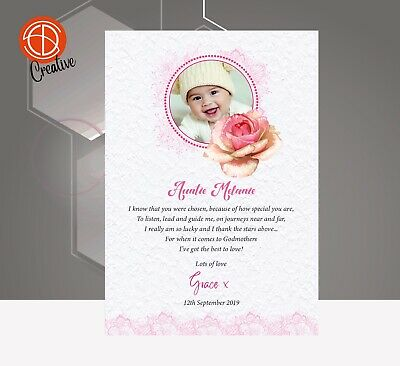 £4.25 • Buy Thank You For Being My Godmother Card Godfather Godparents Thank You Gift Card