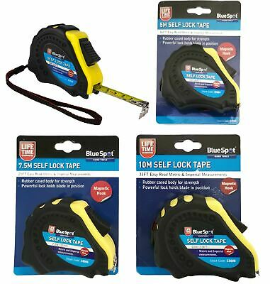 BlueSpot Tape Measure Magnetic Tip Auto Lock Imperial Metric Scale 5, 7.5 Or 10m • 7.49£