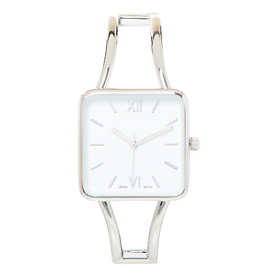 £13.48 • Buy Silver Square Face White Dial Metal Double Band Fashion Womens Bangle Cuff Watch