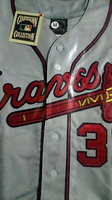 640914732 Brand New Majestic GREY Atlanta Braves  31 Greg Maddux WS Patches Sewn  Jersey • 57.65