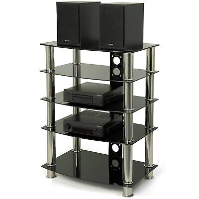 Centurion Supports GTS6 5-Shelf Gloss Black Glass And Silver Legs Hi-Fi/AV Stand • 99£