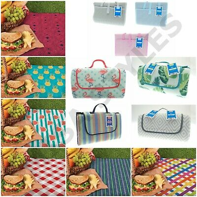 Large Folding Family Travel Outdoor Picnic Camping Beach Bbq Rug Mat Blanket • 9.89£