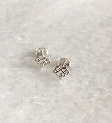 925 Solid Sterling Silver Small Celtic Heart Knot Studs Earrings With Gift Box • 8.99£